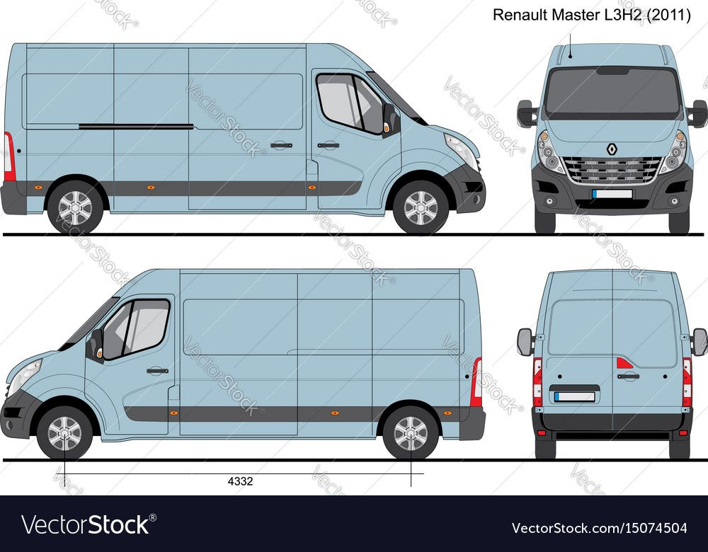 Renault Master L3h2 Cargo Bus 2011 Vector Image On Vectorstock Renault Master Renault Renault Kangoo