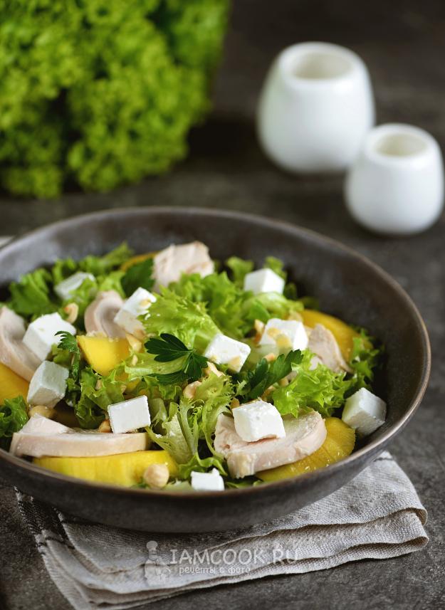 Салат с манго и курицей — рецепт с фото   Рецепт в 2020 г ...