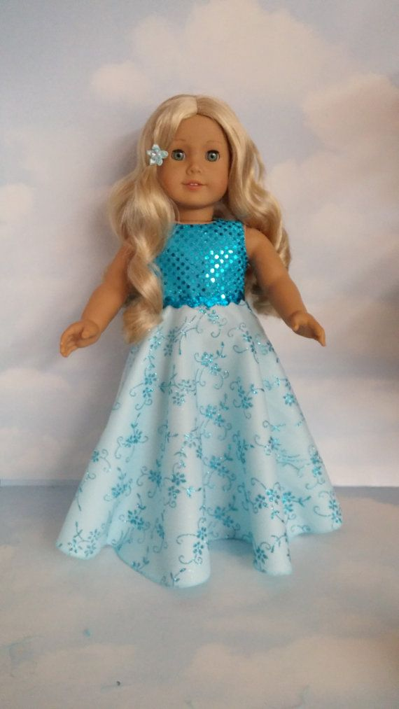 18 inch doll clothes - #228 Turquoise Gown handmade to fit the ...