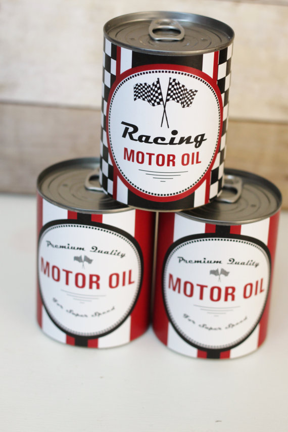 PERSONALIZED Motor Oil Can Wrappers Party Decoration Vintage Race