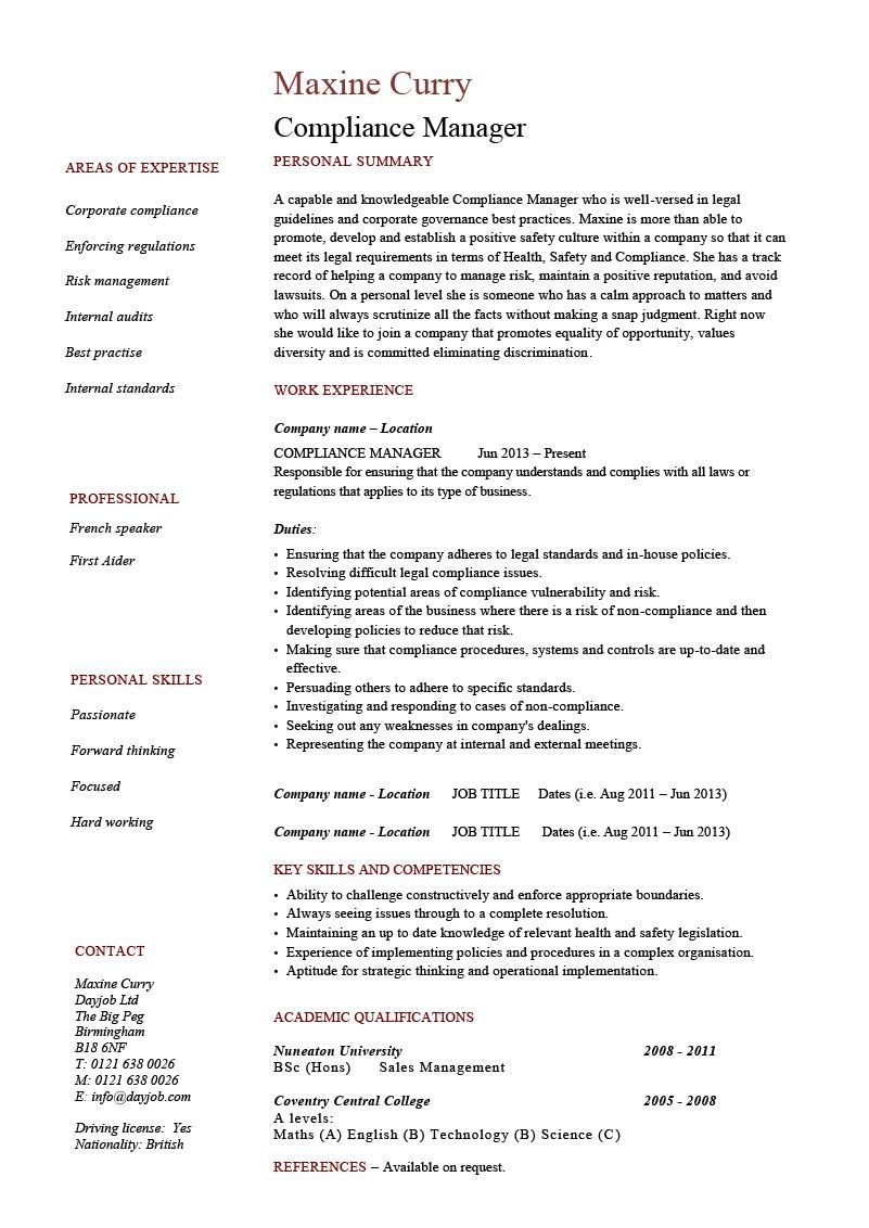 Compliance Manager resume template CV example text HR