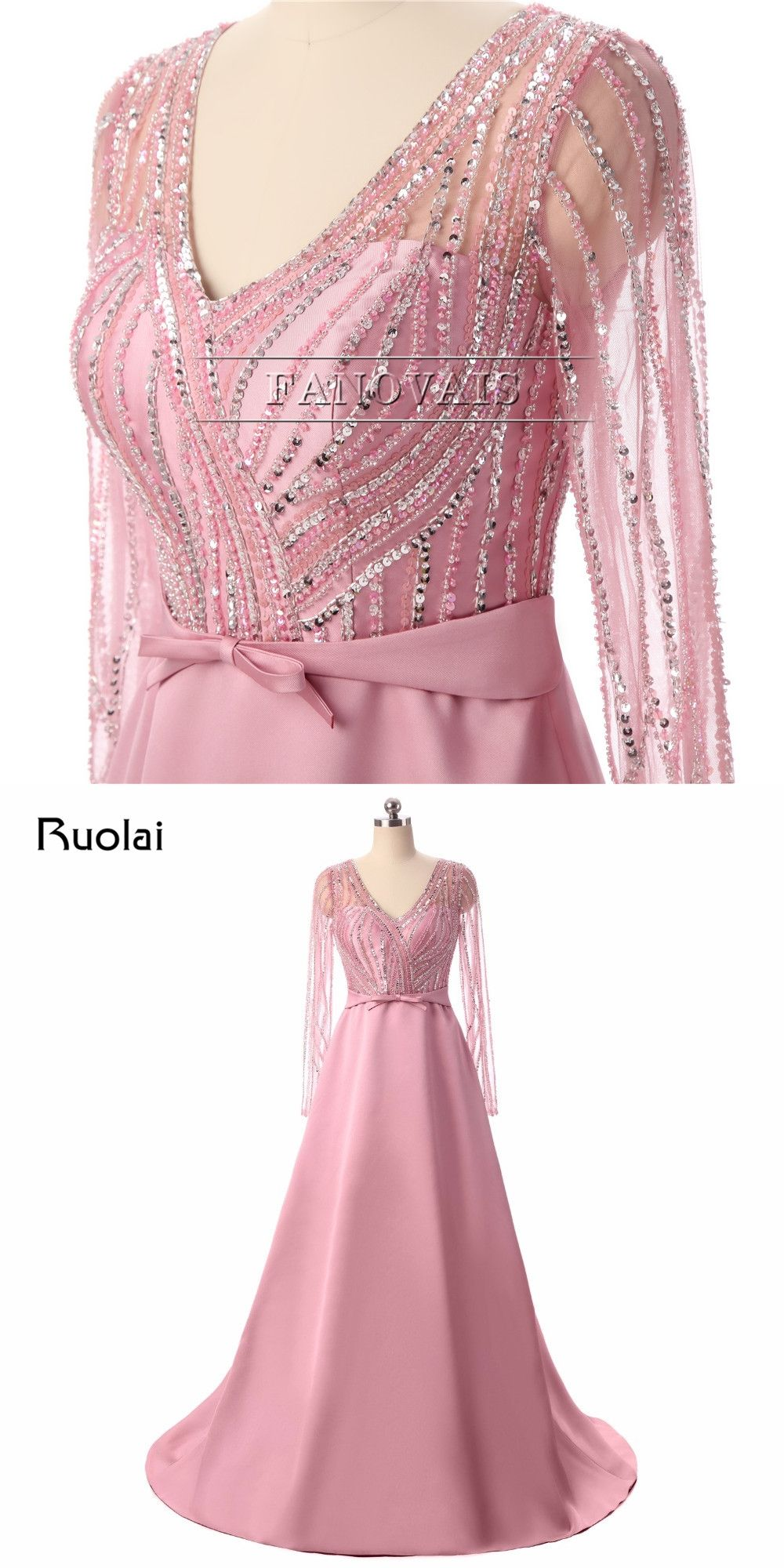 Real picture robe de soiree evening dresses long sleeves