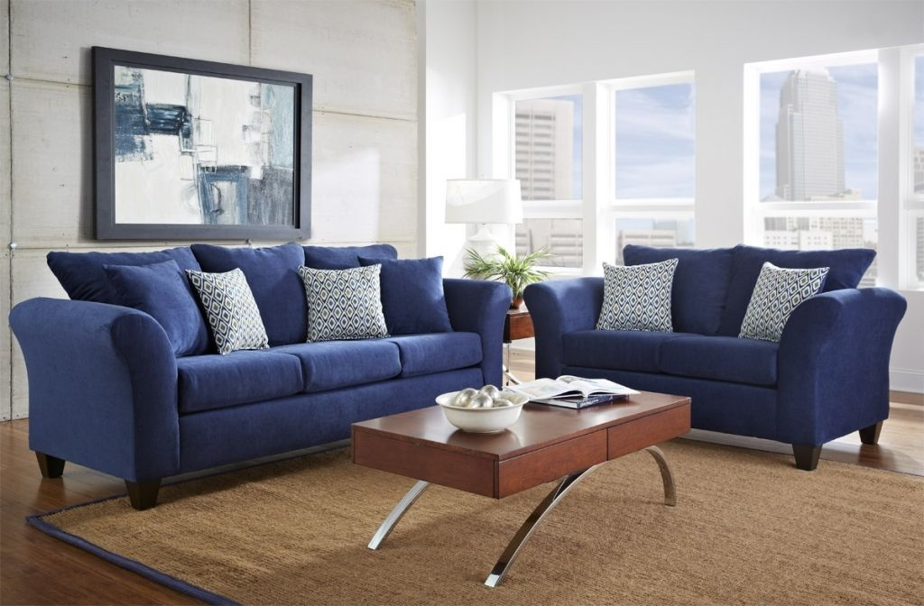 Stylish Royal Blue Living Room Unique Sofa Set 8 With