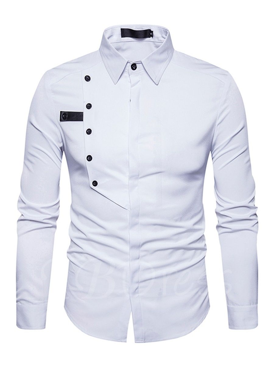 Frieed Men Solid Color Button Down Lapel Cotton Long Sleeve Shirts