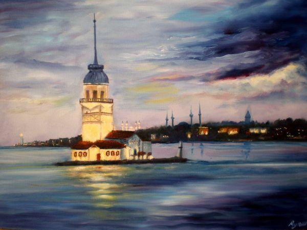 Yagli Boya Kiz Kulesi Tablolar Resimler Sanat Malzemeleri