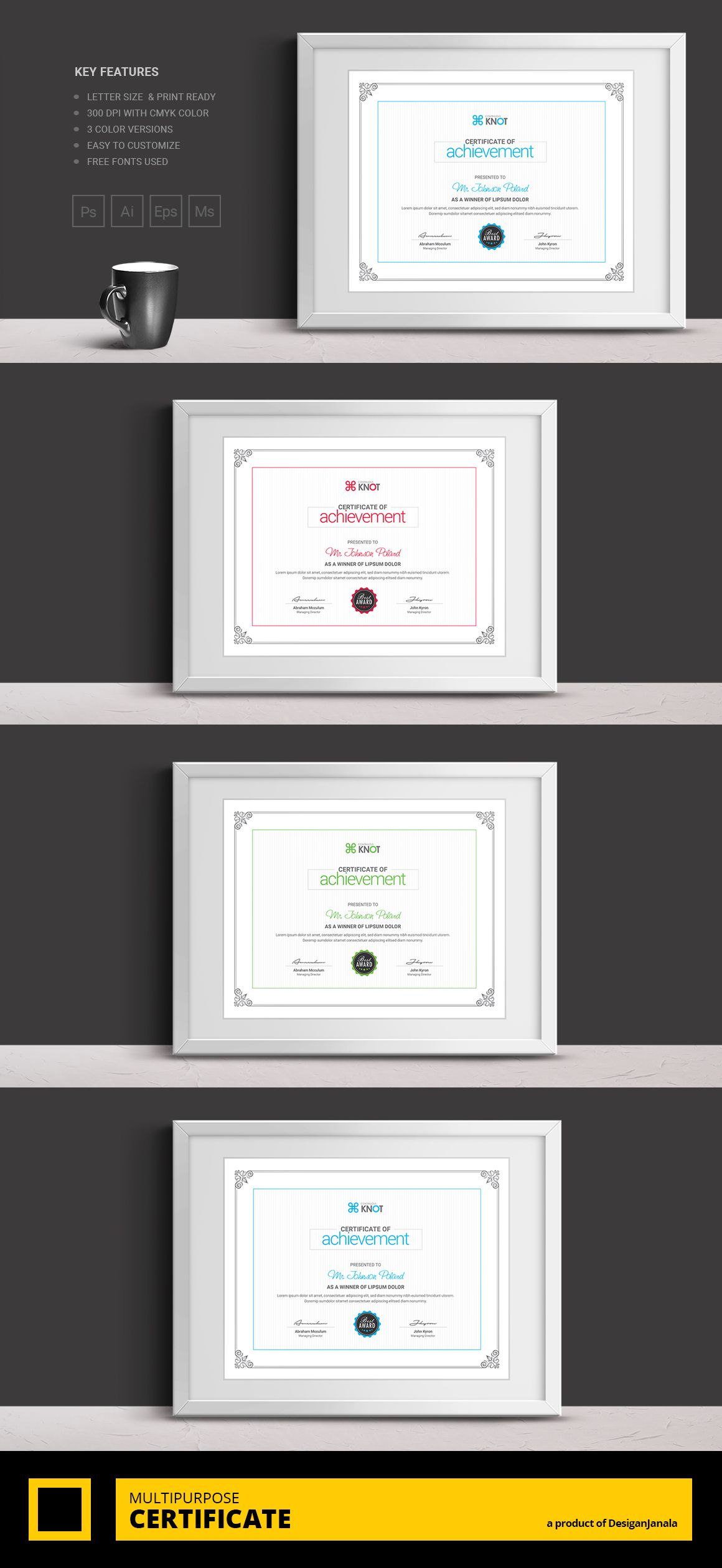 Corporate and modern certificate template this multipurpose this multipurpose certificate template is suitable for any certificate of achievement award giving certificate certificate of excellence certificate of xflitez Image collections