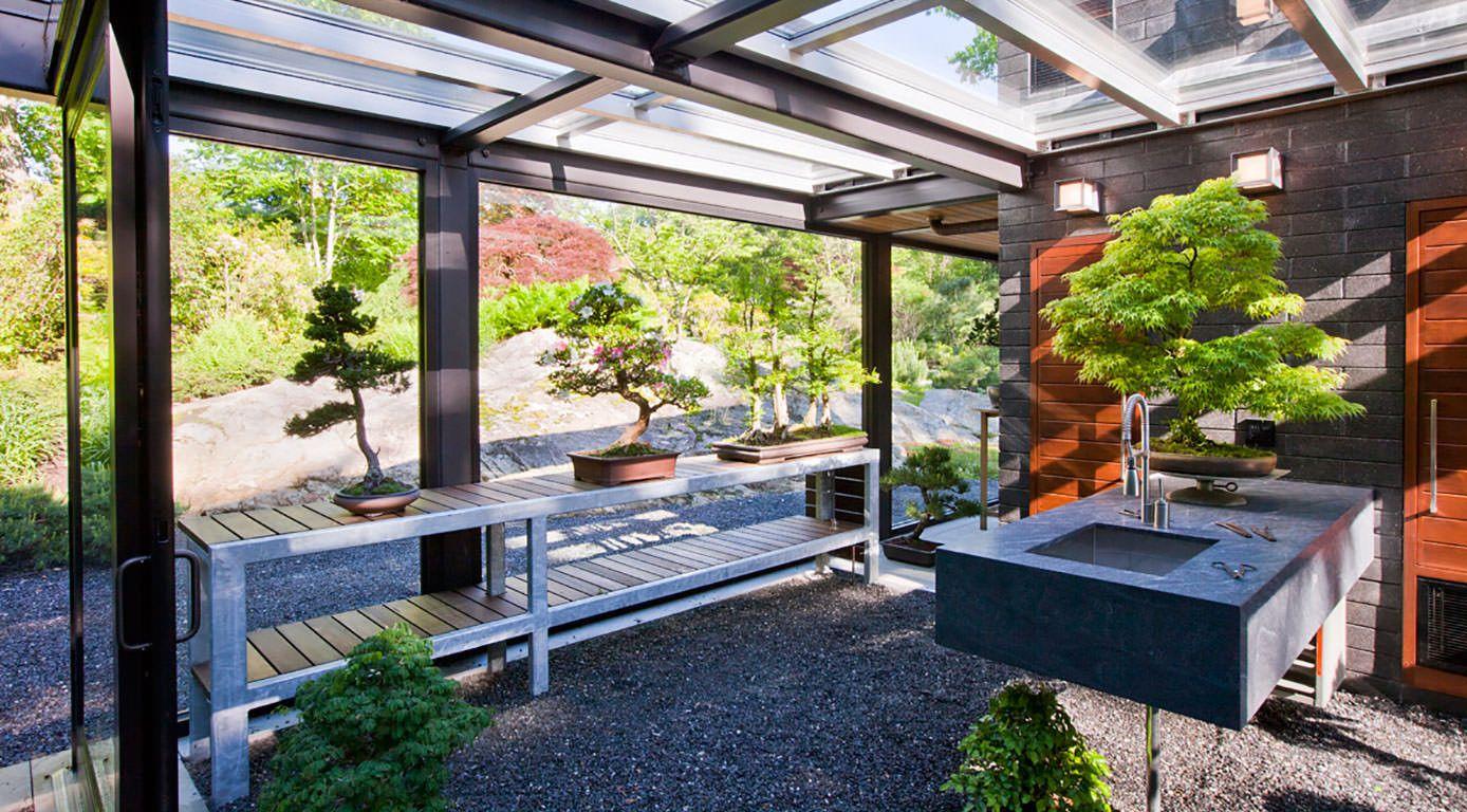 Garden Design New England bonsai pavilion, japanese garden, landscape architecturezen