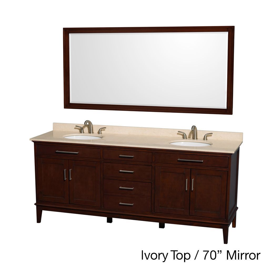 Wyndham Collection Hatton 80 Inch Dark Chestnut Double Sink Bathroom Vanity
