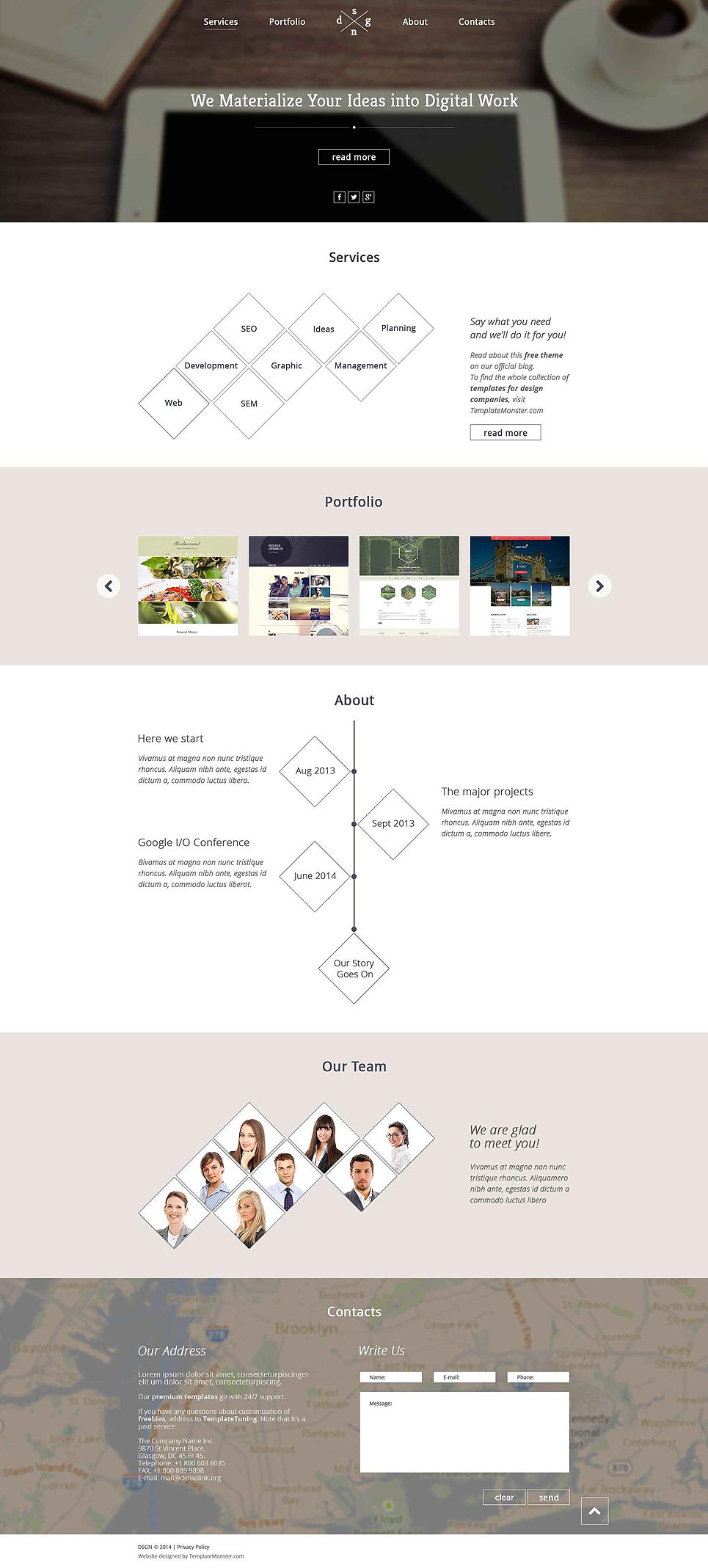Free One Page Website Template Freetemplatesonline Templates