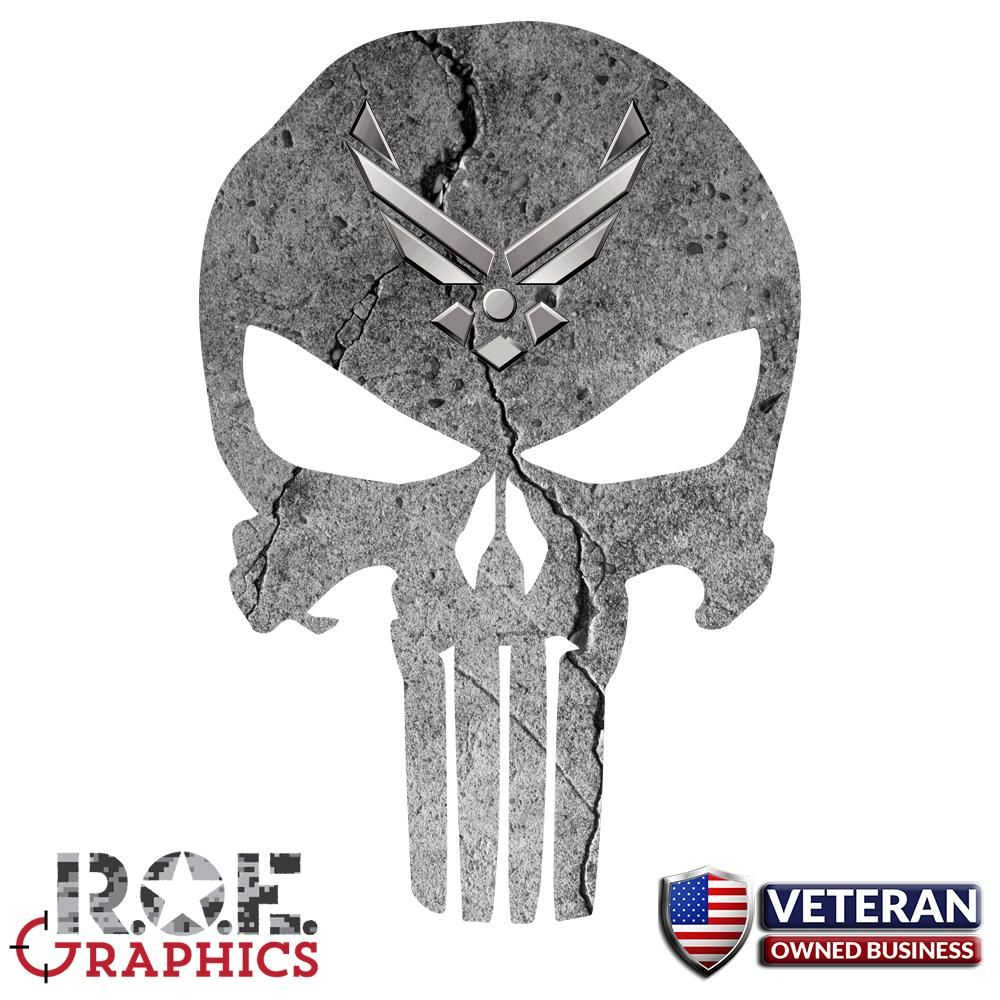 Punisher Skull Window Decal Vinyl Graphic US Air Force