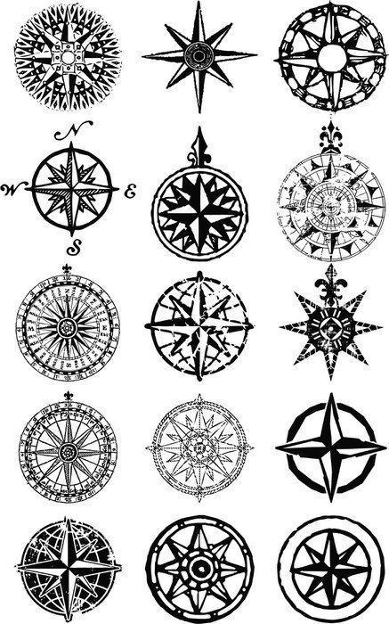Wind roses - nautical compass vector grunge collection Vinyl Wall Mural - Holidays #sacredgeometry