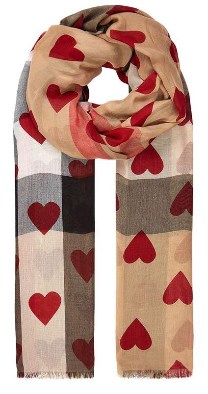 valentines gift for women burberry heart print check scarf. Black Bedroom Furniture Sets. Home Design Ideas