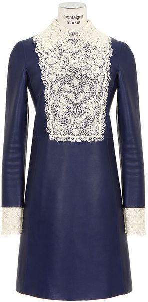 12344d5f99ca VALENTINO Blue Leather Dress - Lyst | Kaftans | Leather dresses ...