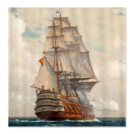 ship at sea shower curtain by vintage