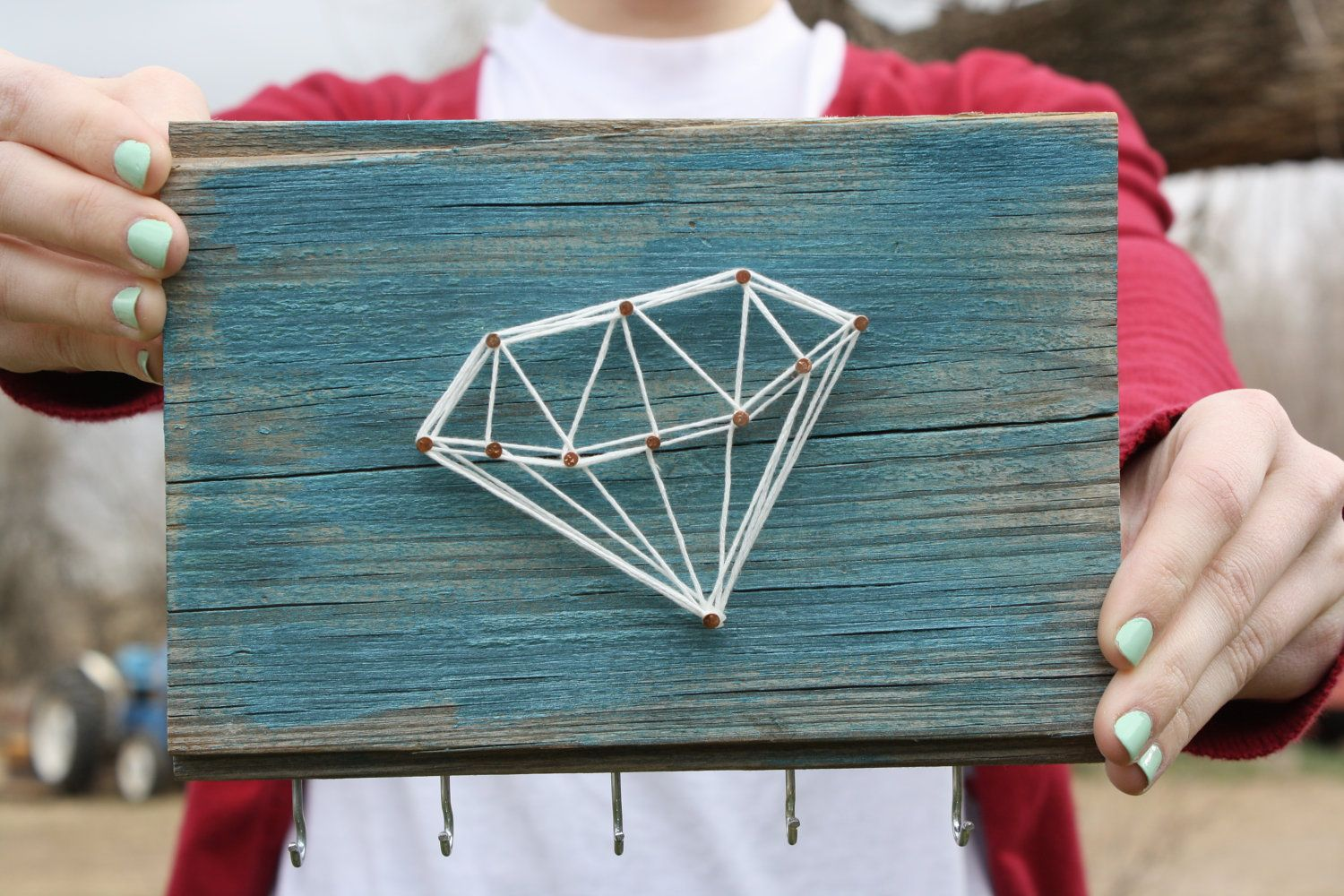 Reclaimed Wood with Diamond String Art - Jewelry Organizer | String ...