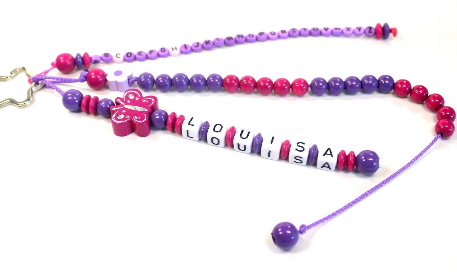 Rechenkette Schulkind mit Namen ABC Schulanfang dunkellila pink