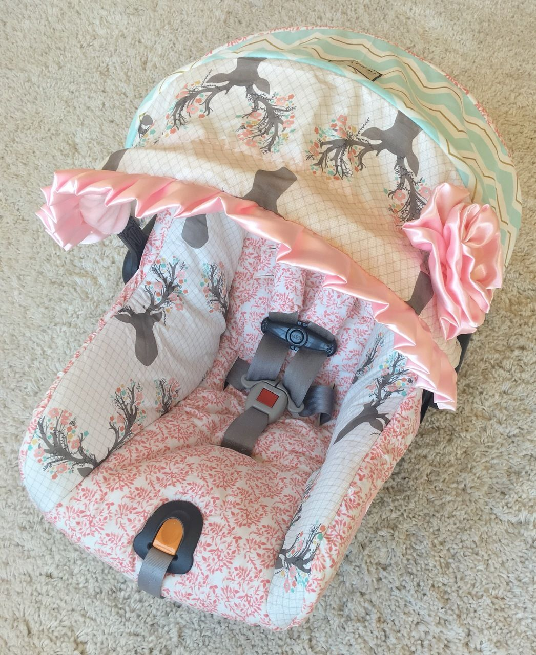 Custom Infant Car Seat Cover Girly Stag Mint Chevron Coral