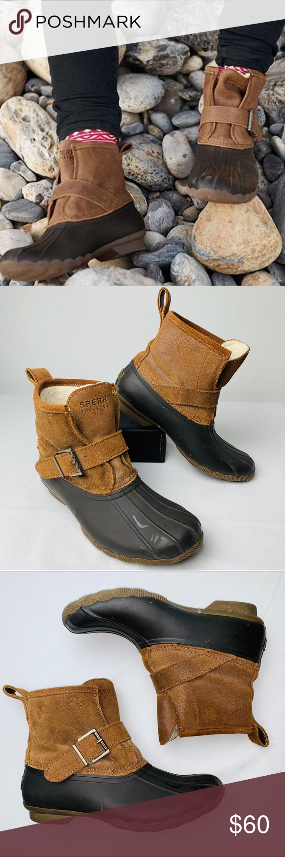 Rubber Brown Rip Water Duck Boot