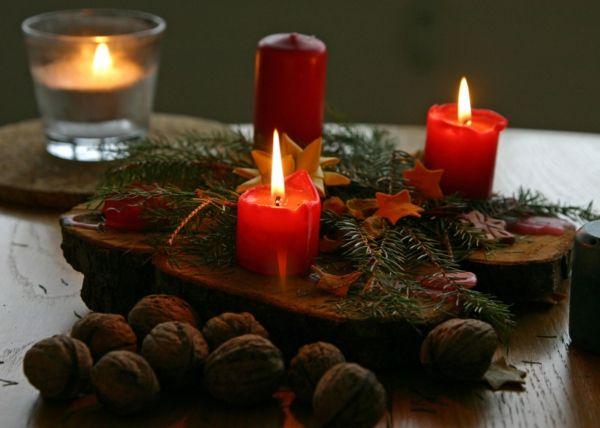 Holz Kerzenhalter Weihnachtsdeko Nüsse