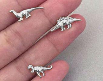 Dinosaur Earrings Tiny Silver Dinosaur Stud by PMDJewelryShop