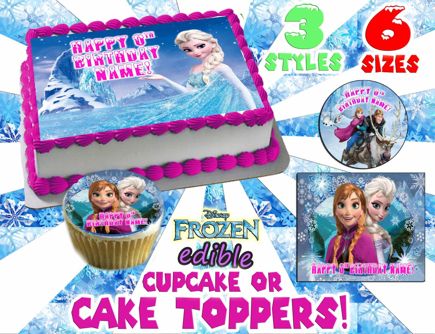 Frozen CAKE TOP edible or cupcake toppers by Pictures4Cakes 800