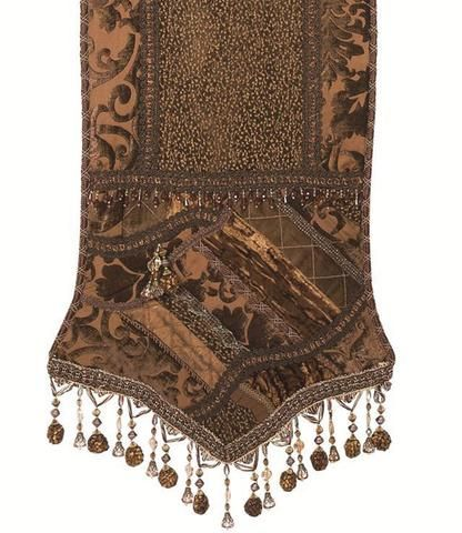Chocolate Brown Chenille And Velvet Pieced Table Runner