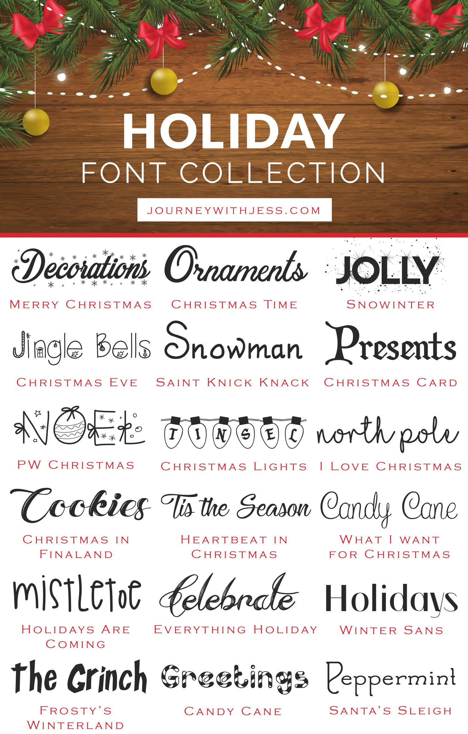 Free Font Collection Holiday Fonts Journey With Jess Inspiration For Your Creative Side Holiday Fonts Cricut Fonts Christmas Fonts