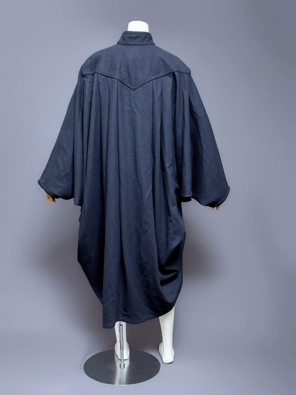 Issey Miyake Men wool cocoon coat, 1980s. Back view.