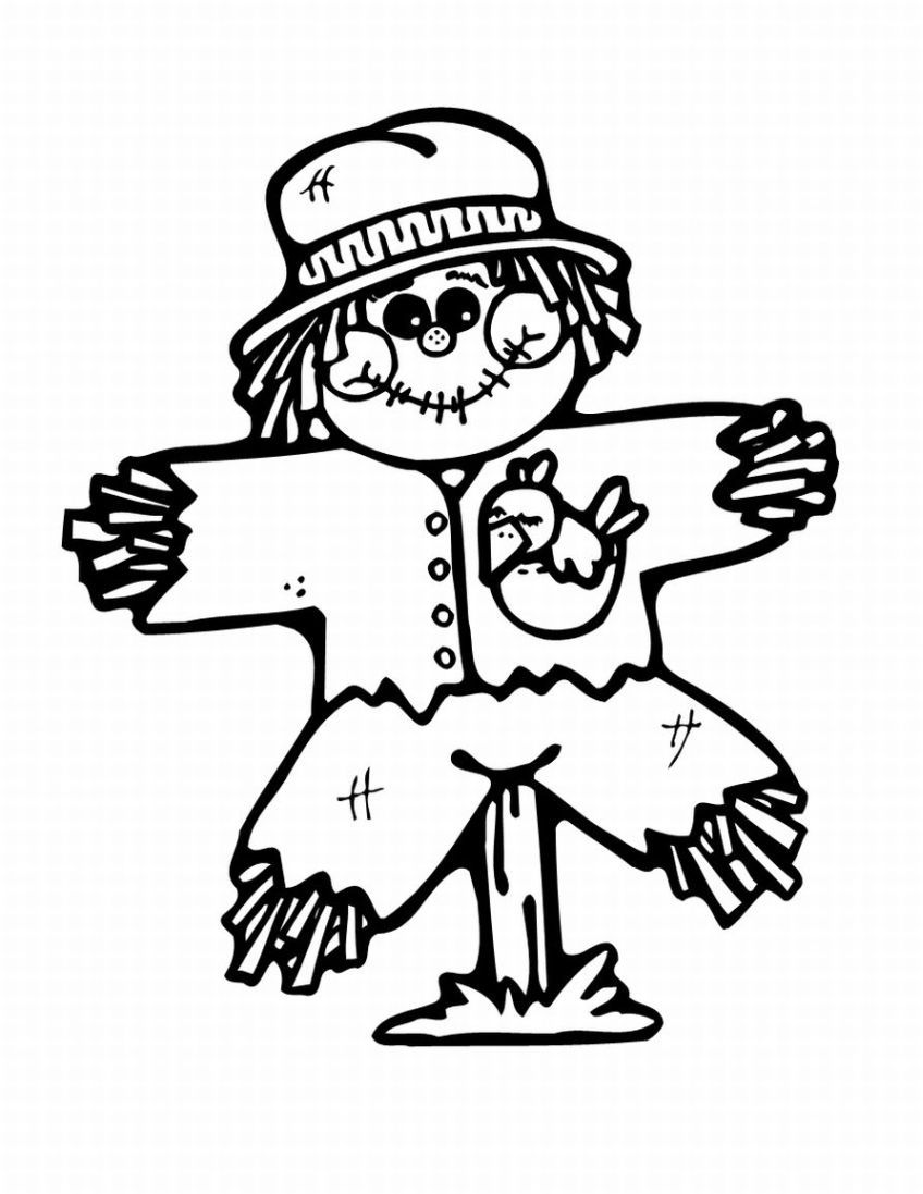 Free Printable Scarecrow Coloring Pages For Kids Thanksgiving