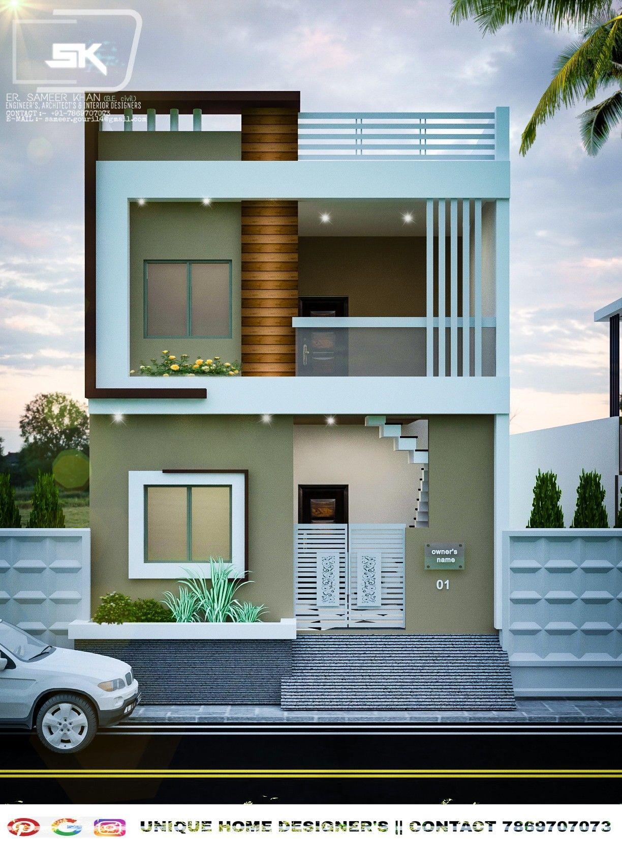 20 Unbelievably Beautiful Contemporary Home Exterior Designs: Introducing Modern House Exterior Elevation Of G+1 Indian House In 20' F…