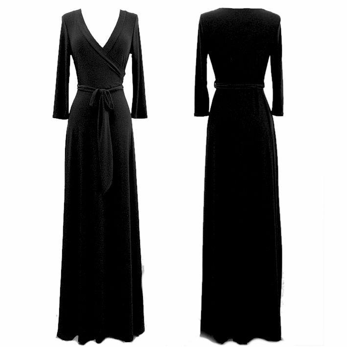 Details about BLACK Faux Wrap MAXI DRESS Jersey LONG Skirt vtg ...
