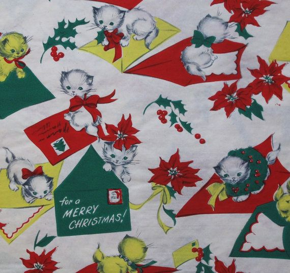 Vintage CHRISTMAS Gift Wrap  Wrapping Paper by MidCenturyAddiction