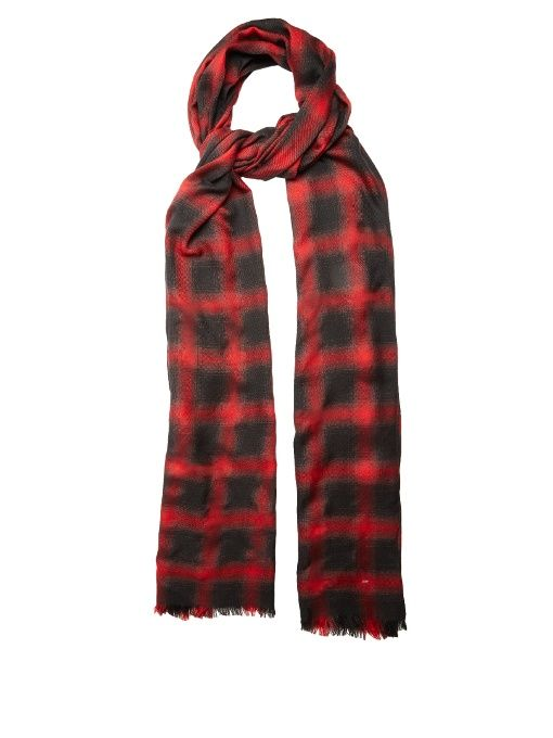 SAINT LAURENT Checked wool, silk and cashmere-blend scarf. #saintlaurent #scarf