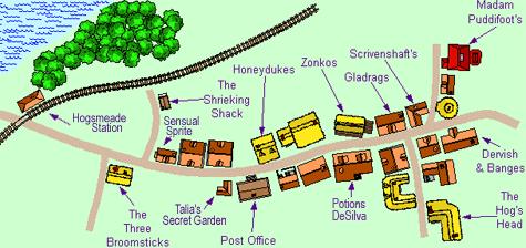 Elegant Hogsmeade Map