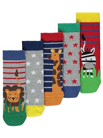 5 Pack Assorted Animal Socks Socks and Animal - asda halloween decorations