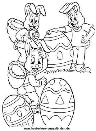 Ausmalbild Viele Osterhasen mit Ostereiern   Easter 2   Pinterest ...