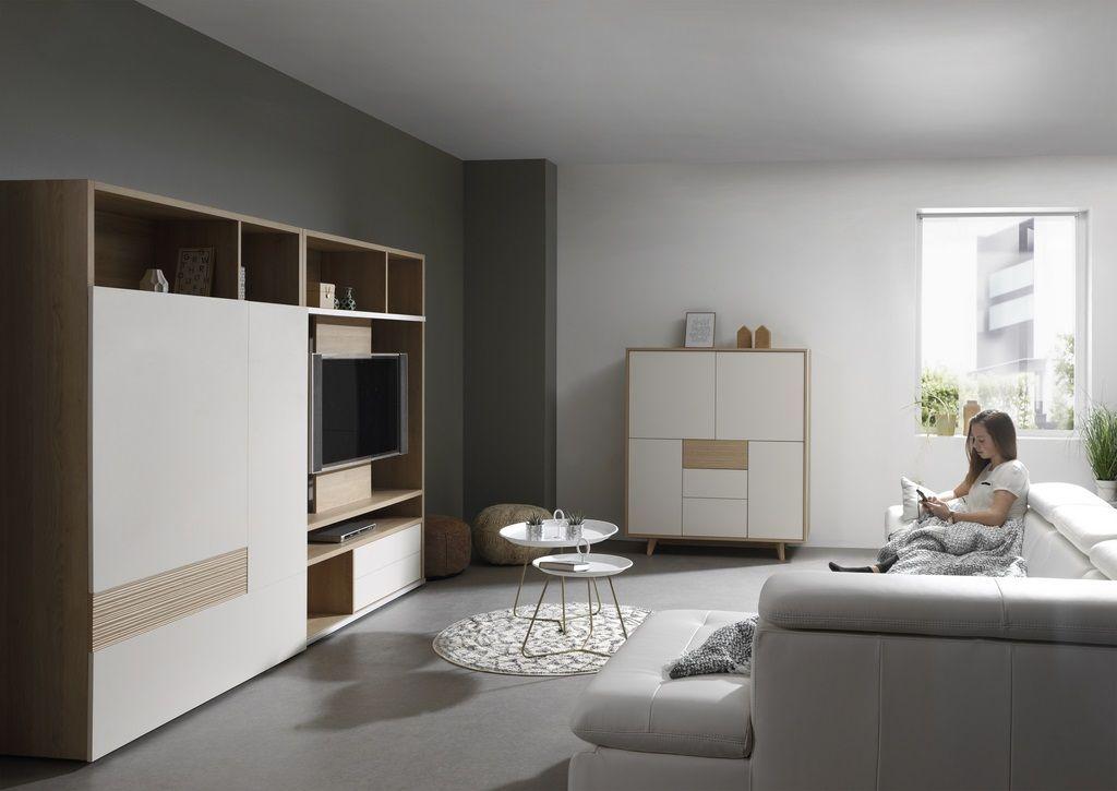 MILA woonkamer met groot TV-meubel °° Scandinavisch design ...