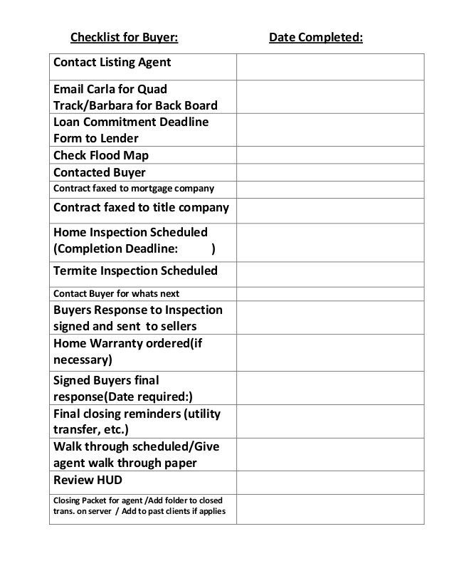 Checklist For Buyer Contact Listing Agent Email Carla For Quad