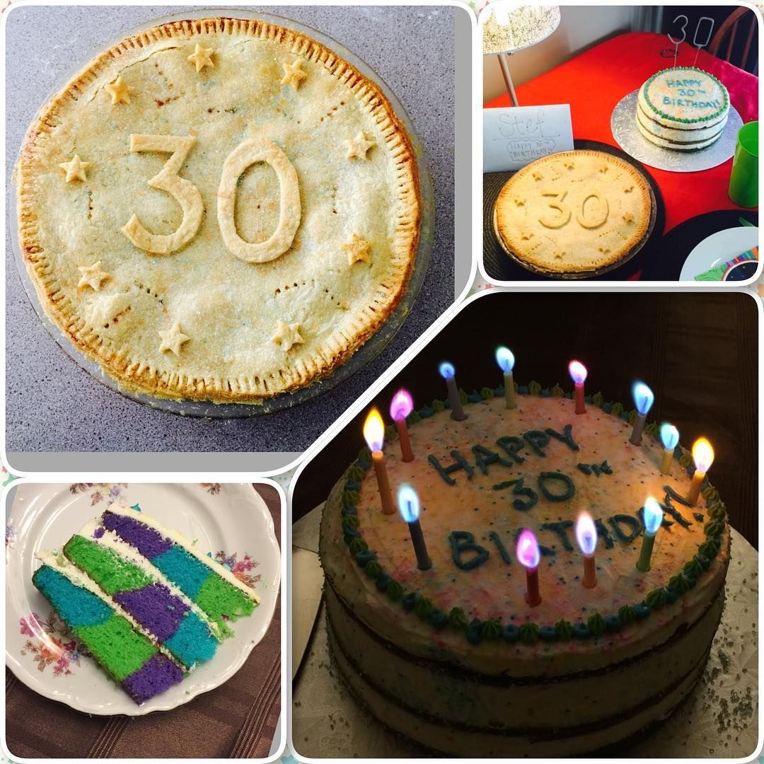 Multicoloured Cake And Apple Pie For My Boyfriends 30th Birthday