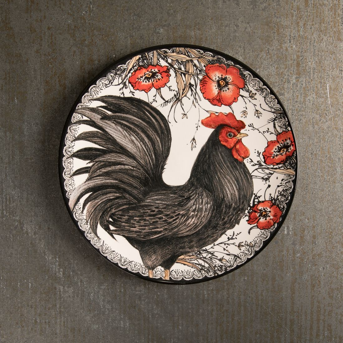 Black Rooster Salad Plate Right Facing Black Rooster Rooster Plates Plates