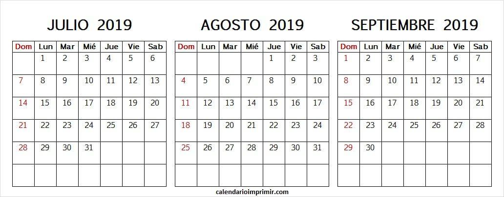 Calendario 2019 Julio Agosto Y Septiembre.Calendario Julio Agosto Y Septiembre 2019 En Blanco July