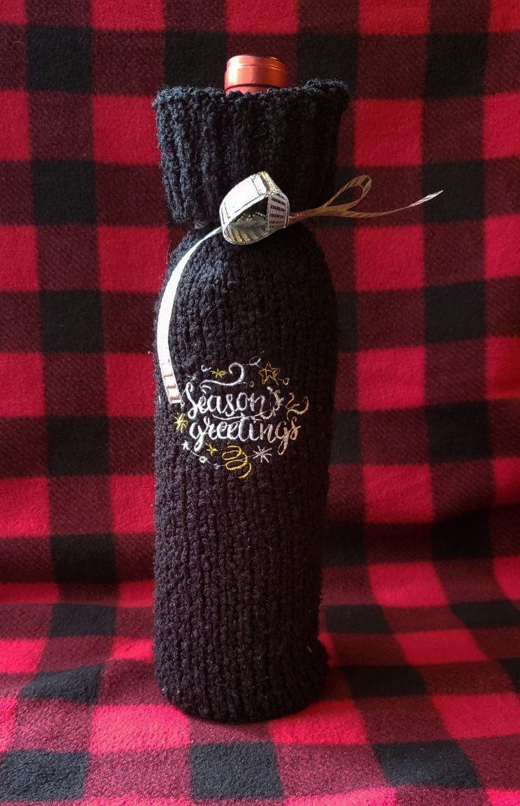 Season S Greetings Wine Bottle Sleeve Christmas Gift Bag Holiday Hostess Gift Christmas Gift Bags Handmade Christmas Gifts Small Gifts