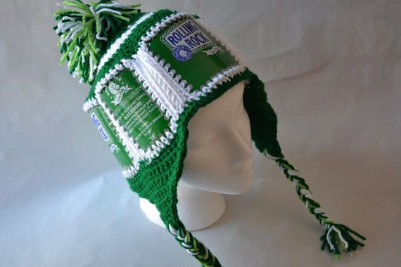 f68b2a7d46a Recycled Rolling Rock beer can crocheted hat with by cozycans ...