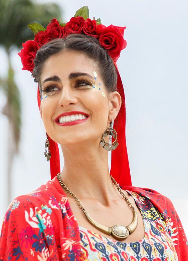 Fantasia frida kahlo carnaval origem cant o quem vc quer ser hoje pinterest masque - Deguisement frida kahlo ...