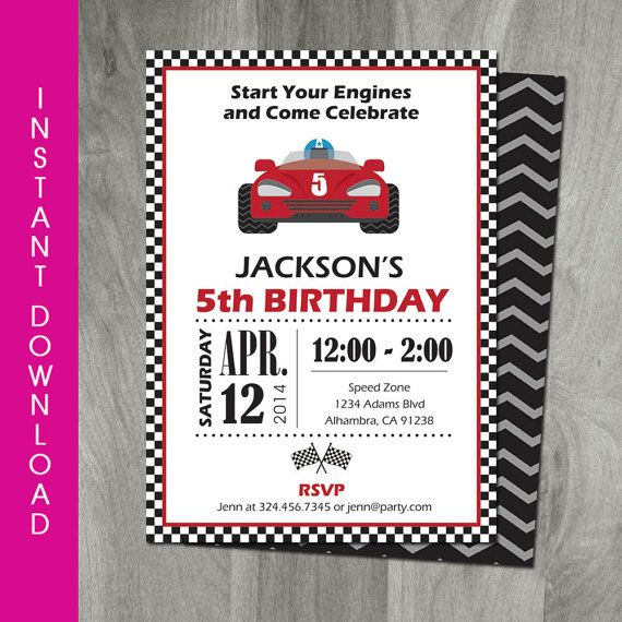 Race Car Party 5x7 Invitation Self Editable Template Go Kart