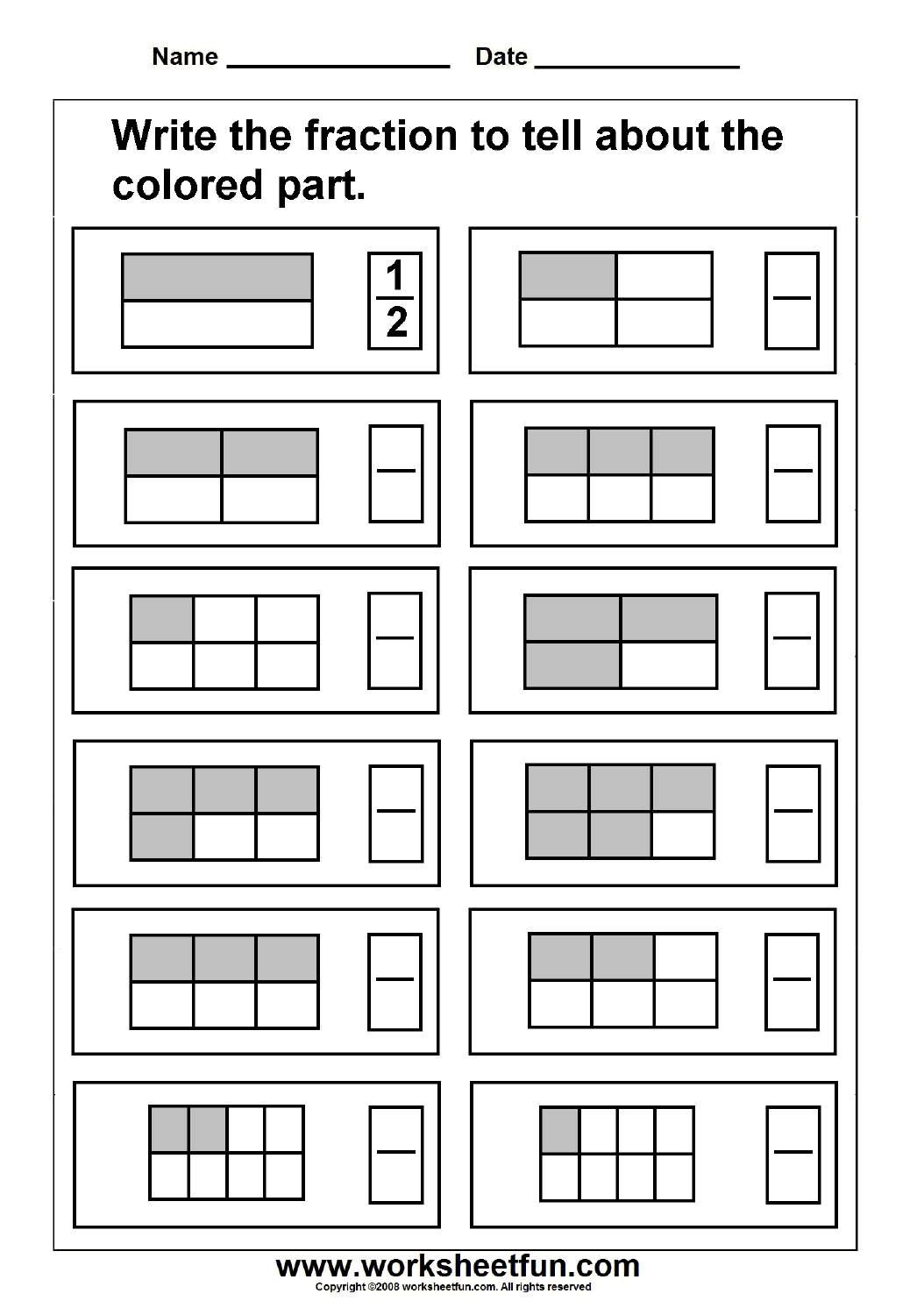Fraction Worksheets For Grade 3 Site Pinterest For