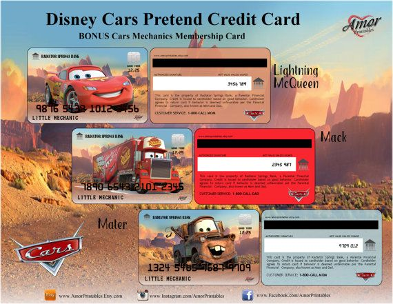 Disney Cars Pretend Credit Cards Bonus Membership Card - printable membership cards