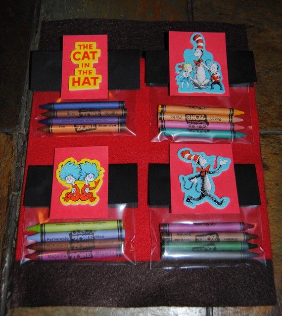 Dr SeussCat In The HatCrayon Favor by Trendycupcakeshop on Etsy, $20.00....this is a good goody bag idea