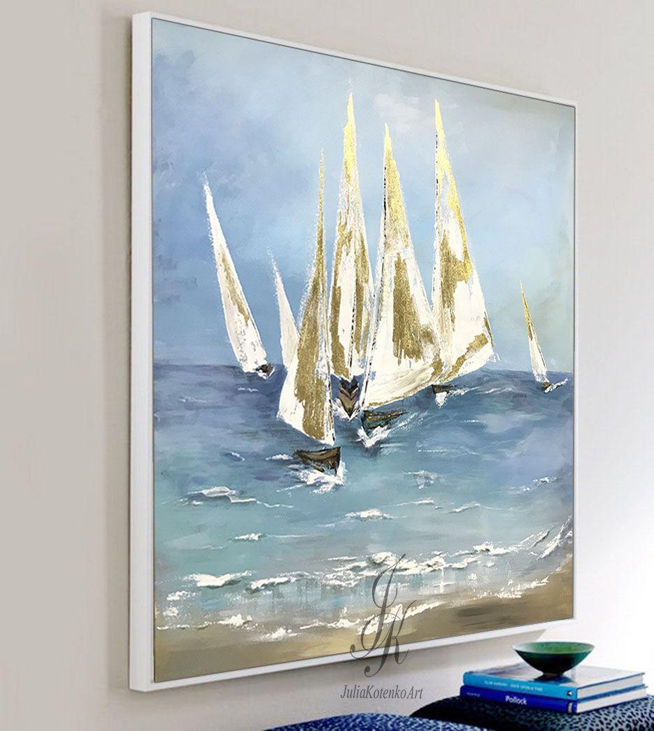 Abstract Sailing Ship Painting Gold Leaf Art Sailing Regatta Art By Juliakotenko Original Canvas Art Contemporary Art Painting Modern Canvas Art