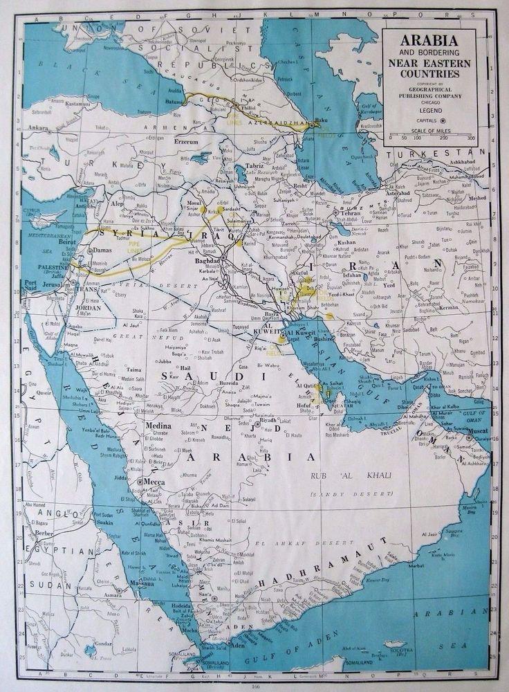 1947 antique saudi arabia map poster print original map of saudi impresiones del psteres arabia saudita bahas gumiabroncs Gallery